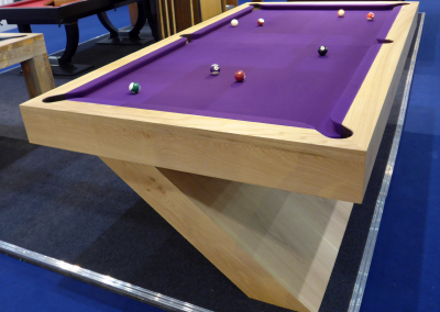 Bespoke 8ft Pool Snooker table Natural Oak with purple cloth