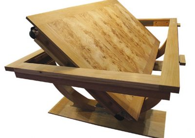 Oak and rippled ash Continental Rollover pool or snooker dining table