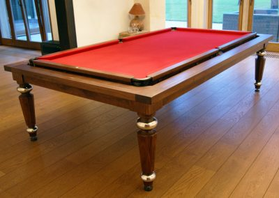 Bespoke pool-dining table - Walnut, Hex & Steel legs, Rollover mechanism