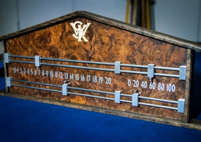 Ash & Burr Walnut Snooker scoreboard inliad with intials
