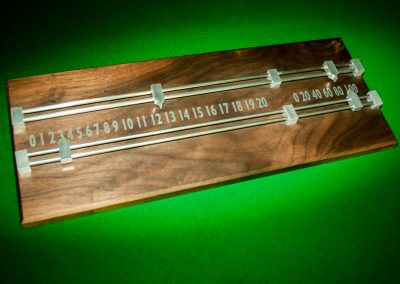 Simple Walnut Snooker Scoreboard with steel rails and pointers