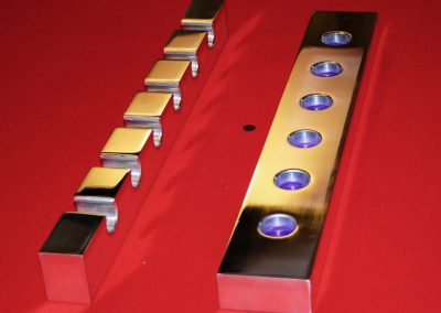 Bespoke polished-metal 2 piece wall mounted Pool or Snooker cue-rack