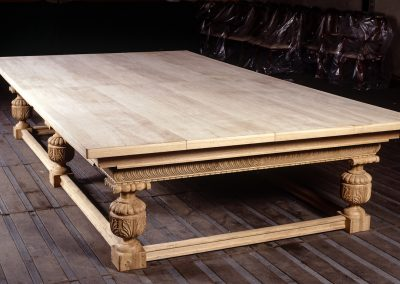 Full-size Snooker-Dining table in Refectory style made from solid Oak with natural finish and detailed carving