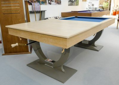 Continental Wind Up Pool dining table - Limed oak & gray paint - show table