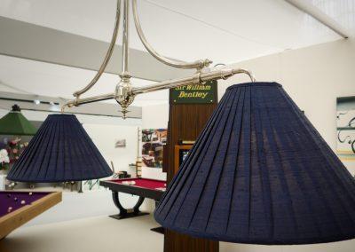 2 lamp Nickel Marlborough Billiard light with Blue Shades