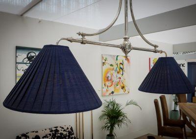 Marlborough 2 lamp Billiard light - Silver Nickel with Blue shades
