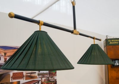 T-Bar Black and Brass Billiard light - Green shades