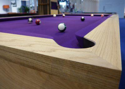 Oak Cantilever pool table - purple cloth