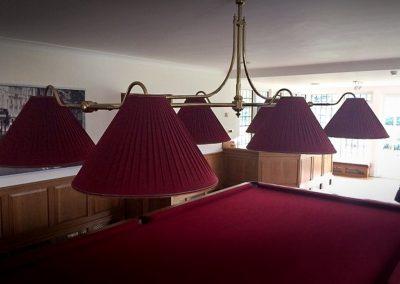 Marlborough Swan 6-lamp full size billiard light - Brass with burgundy pleated silk shades