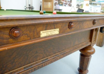 Burroughes & Watts full size antique billiard table - Hex leg Burr Walnut - Makers name