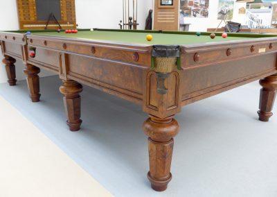 Burroughes & Watts full size antique billiard table - Hex leg Burr Walnut - Olive cloth