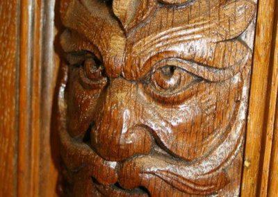 Green Man Oak Billiard table carving detail