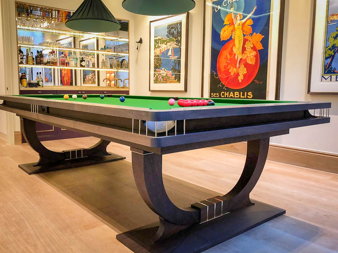 Continental Ball Runner - bespoke Snooker table - Walnut and brass