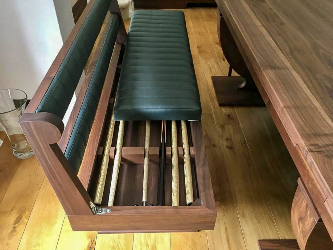 Folding bench with snooker cue storage