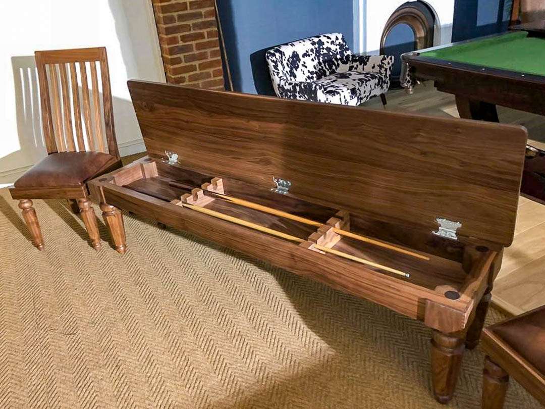 Walnut-Hex-leg-Snooker-cue-Storage-bench-and-Chair-e