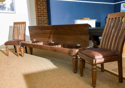 Walnut Hex-leg Snooker cue storage bench with matching chairs